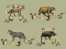 Zorro rojo, logotipos del oso del verraco y del lobo gris, emblemas o insignias con los animales salvajes y banderas o cintas en  Imagen de archivo