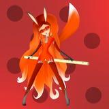 Zorro rojo, muchacha astuta joven con el pelo rojo y un traje rojo en un b rojo stock de ilustración