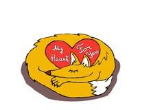 zorro soñoliento de la tarjeta de felicitación con el corazón Imagen de archivo