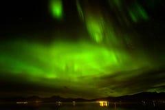 Zorz borealis lub północni światła w niebie przy Tromso, Norwegia obrazy royalty free