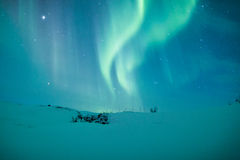 Zorz borealis nad Scandinavia obrazy royalty free