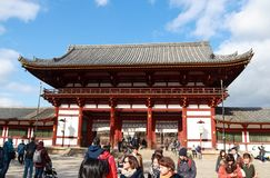 The second antique wooden archway entrance of Todaiji temple. Zoshicho, Nara, Japan, November 21, 2017 : The second antique wooden archway entrance of Todaiji royalty free stock photo