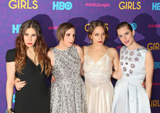 Zosia Mamet, Lena Dunham, Jemima Kirke, and Allison Williams. The fabulous foursome of Girls actresses: Zosia Mamet, Lena Dunham, Jemima Kirke, and Allison stock photography