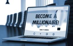 Zostać milioner na laptopu ekranie - zbliżenie 3d fotografia royalty free