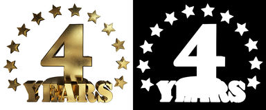 Złota cyfra cztery i słowo rok, dekorujący z gwiazdami ilustracja 3 d Fotografia Royalty Free