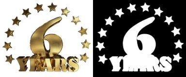 Złota cyfra sześć i słowo rok, dekorujący z gwiazdami ilustracja 3 d Obraz Royalty Free