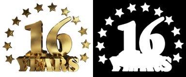 Złota cyfra szesnaście i słowo rok, dekorujący z gwiazdami ilustracja 3 d Fotografia Stock