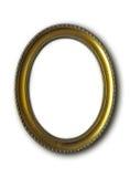 Złota owal rama odizolowywająca na bielu Zdjęcia Stock