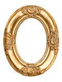 Złota owal rama odizolowywająca na bielu Baroku stylowy antykwarski objec Zdjęcia Royalty Free
