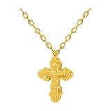 Złota przecinająca kolia na łańcuchu złocista biżuteria krucyfiks Orthodo Zdjęcie Stock