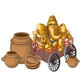 Złota statua Ganesha na glinianych garnkach i furze Obrazy Royalty Free