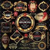 Złote etykietki duży set Zdjęcia Royalty Free