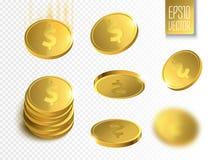 złote monety Pieniądze odizolowywający na przejrzystym tle Obraz Royalty Free