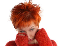 złotowłosy czerwona smutna kobieta Obraz Royalty Free