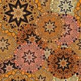 Złoty bezszwowy projekt w orientalnym stylu Stelarny mandalas tło dla karty, strony, okładkowego lub opakunkowego papieru, Indian Fotografia Royalty Free