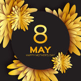 Złoty foliowy Kwiecisty kartka z pozdrowieniami 8 Maja złoto błyska wakacje - Szczęśliwy matka dzień - Zdjęcia Stock