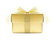 złoty pudełkowaty prezent Fotografia Stock
