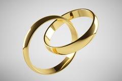 złoty ringowy ślub Fotografia Royalty Free