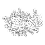 Zouk Zen Tangle. Doodle flowers and text for dance. Royalty Free Stock Photos