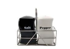 Zout en peper in een reeks Stock Afbeelding