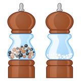 Zout en pepermolennen royalty-vrije illustratie