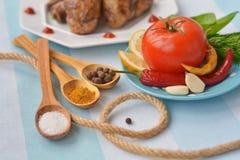 Zout, kerrie, peperbollen, Spaanse peperpeper, citroen, tomatensaus - ingrediënt voor gebraden kip Royalty-vrije Stock Afbeeldingen