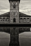 Zout pakhuis, zwart-witte Haven van Cervia, Royalty-vrije Stock Foto