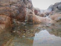 Zout water, klippen, strandzand en groene algen stock afbeeldingen