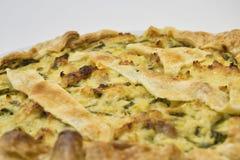 Zoute cake met Italiaanse courgette en deegwarenbrisee Stock Foto