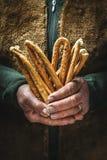 Zoute gebakken snack, het typische Italiaans Stock Foto's