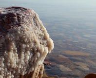 Zoute kristallisatie bij kust van het Dode Overzees, Jordanië Royalty-vrije Stock Foto
