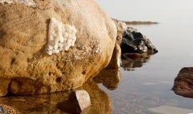 Zoute kristallisatie bij kust van het Dode Overzees, Jordanië stock afbeeldingen