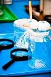 Zoute kristallisatie - het experiment van kinderen stock foto