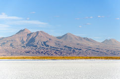 Zoute lagune met berg San Pedro de Atacama royalty-vrije stock afbeelding