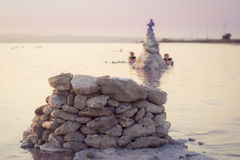 Zoute meren van Torrevieja, Valencia, Spanje Royalty-vrije Stock Foto's