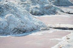 Zoute stapels in zout landbouwbedrijf, India Stock Foto