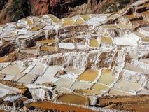 Zoute verdampingsvijvers in Maras, Peru Stock Fotografie