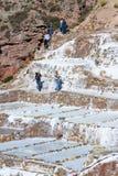 Zoute vijvers van Maras, Peru Stock Afbeelding