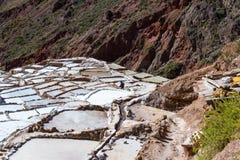 Zoute vijvers van Maras, Peru Stock Afbeeldingen