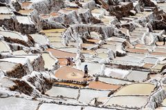 Zoute vlakten in Maras, Peru royalty-vrije stock foto