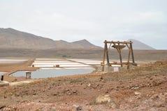 Zoutmeren, oude vulkaan en zout water Royalty-vrije Stock Foto
