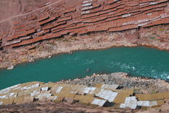 Zoutmeren in Tibet Stock Fotografie
