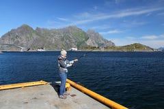 Zoutwater die in Noorwegen vissen royalty-vrije stock foto