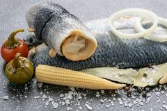 Zoutwater gemarineerde vissen, koud voorgerecht royalty-vrije stock fotografie