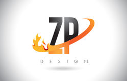 ZP Z P Letter Logo with Fire Flames Design and Orange Swoosh. Royalty Free Stock Image
