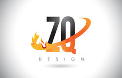 ZQ Z Q Letter Logo with Fire Flames Design and Orange Swoosh. Royalty Free Stock Images