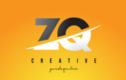 ZQ Z Q Letter Modern Logo Design with Yellow Background and Swoo Stock Photo