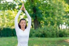 Zrównoważonej i pięknej kobiety ćwiczy joga na naturalnym tle Sport dama w lato parku Zdjęcia Stock