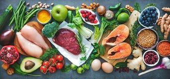 Zrównoważony diety jedzenia tło zdjęcia stock