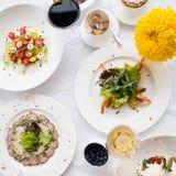 Zrównoważony restauracyjny obiadowy zdrowotny odżywianie zdjęcie stock